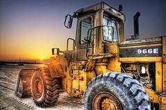 Pushing sand (momentaryawe.com) Tags: sunset beach sand dubai uae emirates hdr highdynamicrange bulldozer heavymachinery