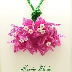 Bougainvillea Bouquet (Kerrie Slade) Tags: pink flowers green silver necklace beads handmade jewelry bougainvillea jewellery etsy beading beadwork ebwc kerrieslade bougainvilleabouquet