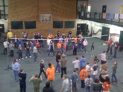 Giant game of blind volleyball