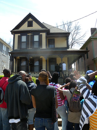 Students await entry at Dr. Martin Luther King Jr.'s boyhood home on Auburn St. in Atlanta