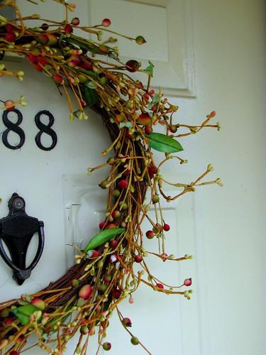 Wreath on outside door