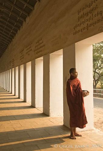 shwezigon paya walkway monk