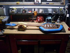 Del Rey EV-3T on Bench (2) (Roadside Guitars) Tags: electric vintage guitar vox phantom clone delrey teisco