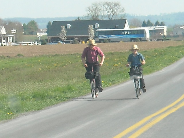 amish kids on scooters