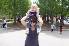 Catie on Tracy's shoulders