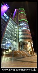 Banana Skin (nwg2008) Tags: city panorama building tower architecture modern lowlight neon leeds photomerge hdr bananaskin bridgewaterplacetower