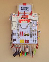 Strawberry Crate Jewelry Display 1 (weggart) Tags: diy recycled handmade frame merchandising selfpromotion fruitcrate jewelrydisplay alternativematerialjewelry weggart crossstitchcanvas