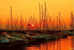 Sunset time at marina
