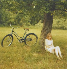 (amanda pulley) Tags: summer tree film girl bike polaroid sx70 600 shelby cropped cousin