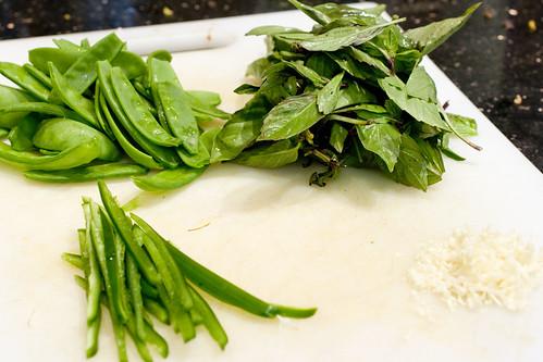snow peas, jalapeno, Chinese basil, garlic
