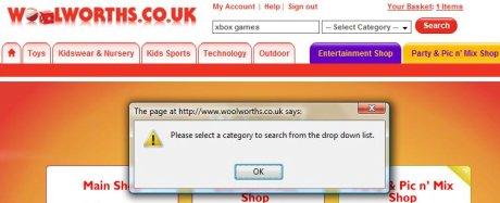 Woolies search error