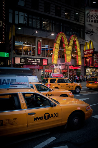 Taxi cabs lined up in Times Square.