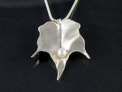 """""""Autumn Leaf"""" Silver Necklace (EfratJewelry) Tags: silver handmade jewelry pearls jewellery pearl sterling 925 silversmith metalsmith sterlingsilver            efratjewelry"""