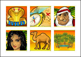 free Desert Treasure slot game symbols