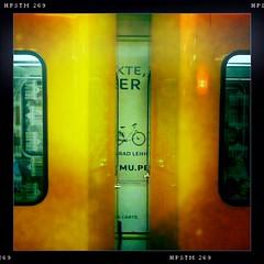Bike rental. (Sascha Unger) Tags: light urban berlin art station yellow kreuzberg germany underground subway design licht traffic centre perspective bahnhof center gelb stadt ubahn sascha form shape mitte verkehr perspektive charlottenburg iphone hipstamatic sascha2010 saschaunger iphonesaturdays
