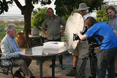 Local expert Kevin Laurie looks on - Filming in Kevin's garden, close to the border with Mainland China