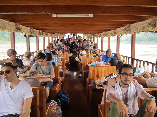 On our slow boat in Laos