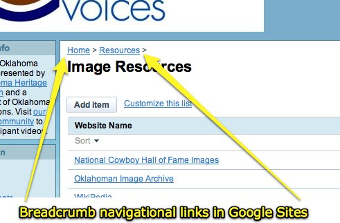 Breadcrumb navigational links in Google Sites