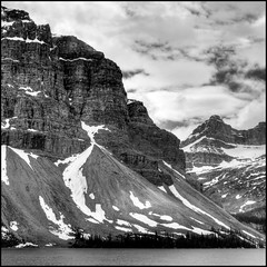 Size Matters (ecstaticist) Tags: bw cliff white mountain lake snow canada black tower ice nature rock highway slide glacier casio alberta scree hdr towering enormous magesty potomatix exf1