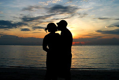 Kiss at sunset (papaija2008) Tags: travel sunset sky cloud love beach silhouette canon thailand island salad kiss asia dusk south powershot east romantic g3 koh phangan backlighting haad otw thaimaa earthasia 4timesasnice
