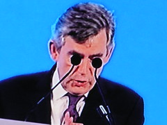 Gordon gives a serious speech - tv screenshot (Scorpions and Centaurs) Tags: television tv funny politics screengrab microphones perspective scottish british speech hahaha primeminister gordonbrown labourparty
