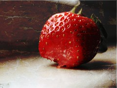 Strawberry. (Mallory Dawn) Tags: red texture fruit strawberry eaten gone half learning second layer bitten appitezing