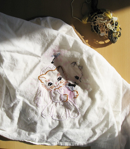 Wedding cat towel