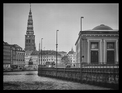 A day in January (Kirsten M Lentoft) Tags: bw tower water copenhagen river denmark canal museeum thorvaldsen kirstenmlentoft