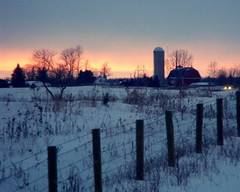 Sunset in the country (**Ms Judi**) Tags: winter sunset sky snow cold tree colors beautiful wisconsin barn fence wonderful landscape lights wire weeds midwest sundown post farm gorgeous branches awesome country scene farmland silo stunning lovely soe peshtigo fenceline dairyfarm supershot countrylandscape msjudi mywinners countrysunset citrit goldstaraward