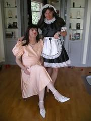 Mischievous smile (Paula Satijn) Tags: pink white shoes shiny dress tgirl transvestite gown satin maid