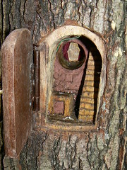 House For Fairies 6 (gnarly_banks) Tags: sculpture house tree stairs woodwork interestingness artwork doors fairy bark fairies carpentry craftsmanship entrances cannockchase treehouses ropeladder