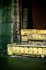 city wide dumpster (ink_ling) Tags: street nyc film yellow brooklyn night trash lights graffiti long exposure pillar tags yashica greenpoint