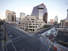 3rd & Guadalupe Time Lapse - my (old) corner :) (markr82) Tags: road longexposure building night austin airplane photography timelapse video nikon downtown texas traffic time mark tx sigma wideangle explore intersection guadalupe 1020mm lauraveirs ultrawide 3rd quicktime lapse whotel robertson constructionworker d80 trammellcrow pclix amlion2nd 15fps becaused80sdonthaveanintervalometer ashininglamp whotelconstruction austinheritagetrees