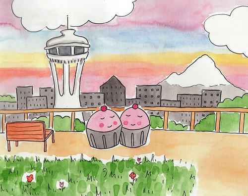 Cupcakes in love at Kerry Park