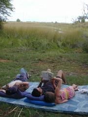 Stress free reading (thwhitney) Tags: blue camping tom underground bread baking bush ben wildlife delta safari linda whitney botswana tsu bake moremi jamil bertha okavango awn hilux easi dwnp