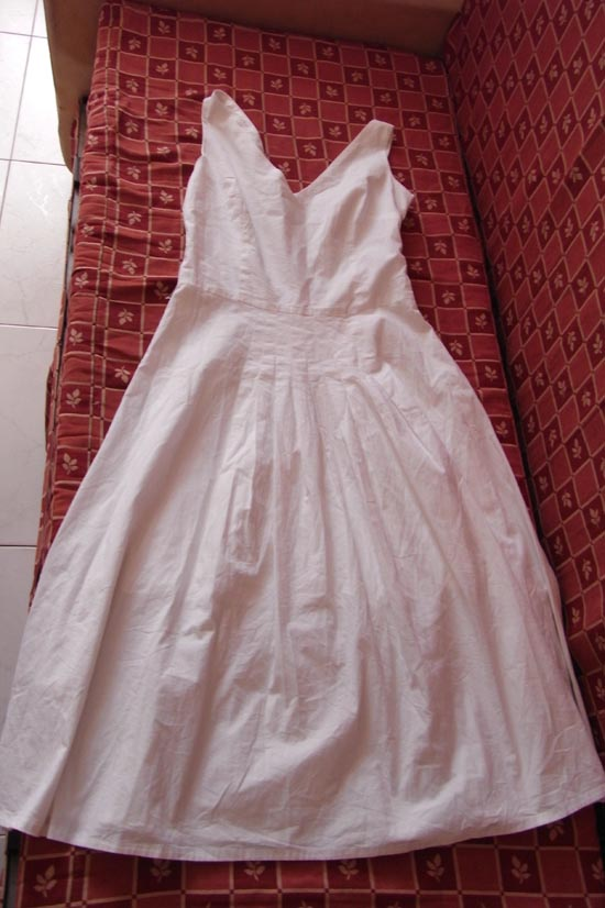 White full skirt dress
