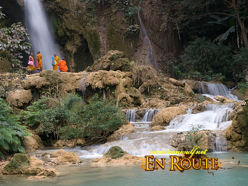 Tat Kuang Si Monks on upper Cascade
