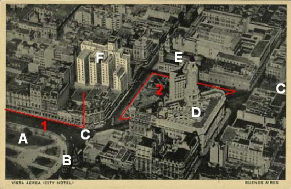 Le City Hotel de Buenos Aires et la nouvelle Diagonal Sud vers 1935