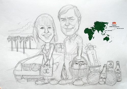 Couple caricatures for Mastercard Mr & Mrs Sekulic detail pencil sketch