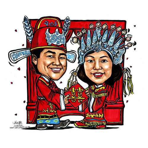 tradional Chinese wedding couple caricatures Johnny and Cicilia (lmedium)