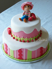 Strawberry Shortcake (alana_hodgson) Tags: pink cake handmade stripes figure dots strawberryshortcake gumpaste sweettreats