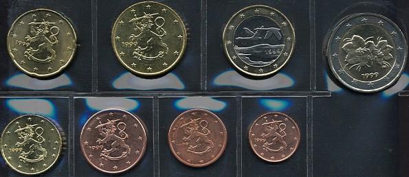 Sada mincí 1 cent - 2 euro Fínsko 1999