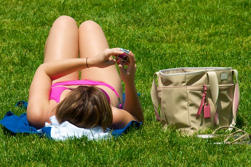 centralpark sandals cellphone bikini sunbathing greatlawn pinkbikini coachbag culturalbehavior