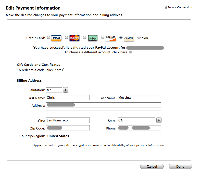 iTunes Payment Information