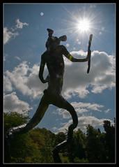 Darko rabbit (Stuart-Lee) Tags: uk greatbritain light england sculpture sun rabbit silhouette unitedkingdom derbyshire peakdistrict gb sunburst chatsworth