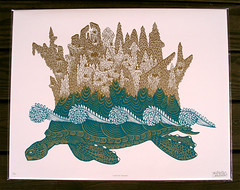 Turtle Island (Tugboat Printshop) Tags: island turtle printmaking turtleisland woodcut woodblockprint woodcutprint tugboatprintshop thedeepblueseaseries thedeepblueseawoodcuts turtleprint