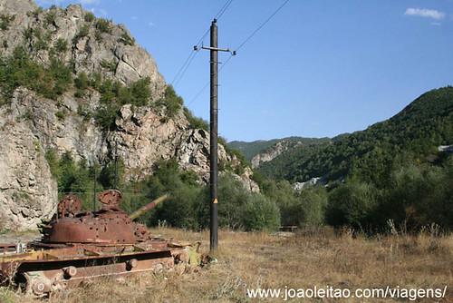 Blown tank in road side Nagorno Karabakh