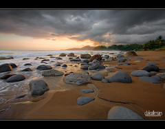 Sunset Beach, Cimaja - HDR (Dale Allman) Tags: sunset sky cloud seascape nature water clouds canon indonesia sand rocks surf waves wideangle explore bandung hdr highdynamicrange 1740 3xp photomatix jawabarat cimaja canon5dmkii 5dmkii daleallman