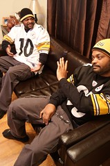 A long talk with myself (swaino35) Tags: football twins pittsburgh doubleexposure multiplicity clones layer clone steelers debate steelersfan