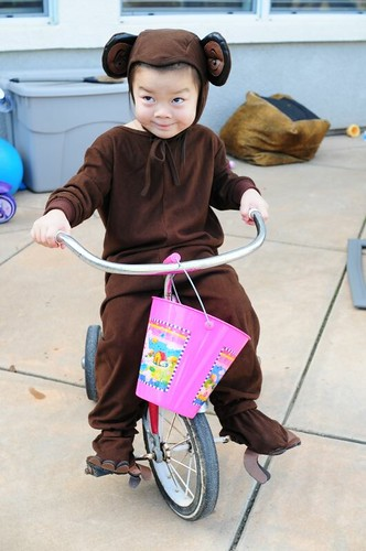 Ro monkeys around on her little trike